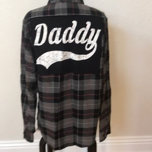 Upcycled Daddy flannel shirt size medium